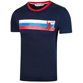 Playera Hombre U.s. Polo Assn. Marino Rojo 88481