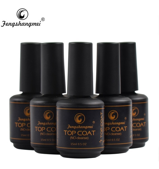 Top Coat Fengshangmei Pretinho Do Poder 5 Unidades Acrigel