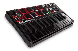 Controlador Usb Mini 25 Teclas Akai Mpk Mini Mk2 Black