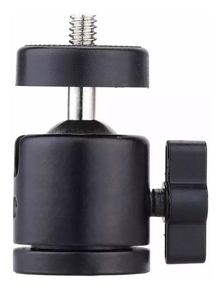 Mini Cabeça Ball Head P/ Câmeras E Iluminadores Rosca 1/4