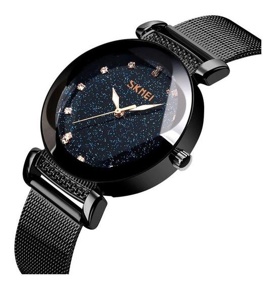 Relógio Feminino Céu Estrelado Brilhante Skmei 9188 Preto