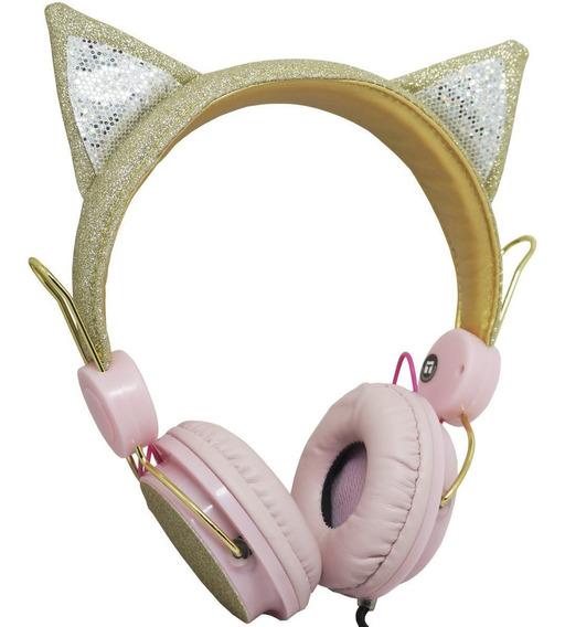 Fone Ouvido Headphone C/ Fio Dourado Orelha Gatinho Glitter