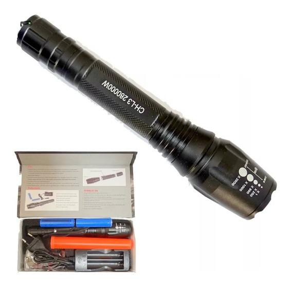 Lanterna Tática Profissional 2x Baterias Capa Bussula T6 Led