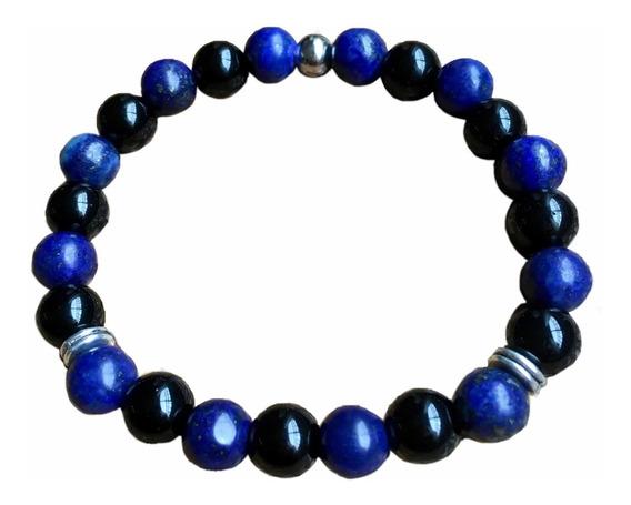 Pulseira Turmalina Negra E Lapis Lazuli Pedras Naturais