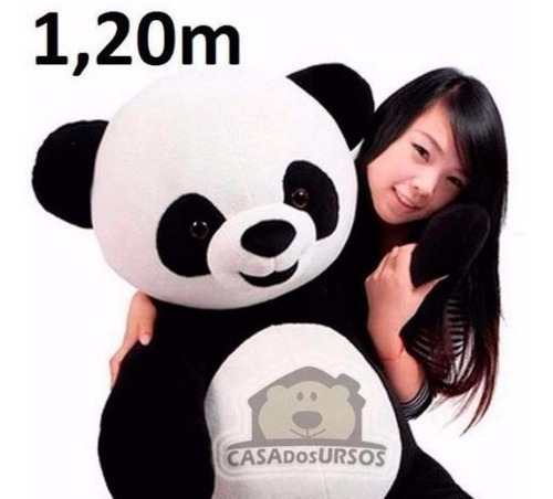 Imagem 1 de 7 de Ursão Panda Ursinho Pelúcia Macio Tedy Bear Gigante 120 Cm