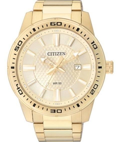 Relógio Citizen Masculino Dourado Tz20493g Com Calendário
