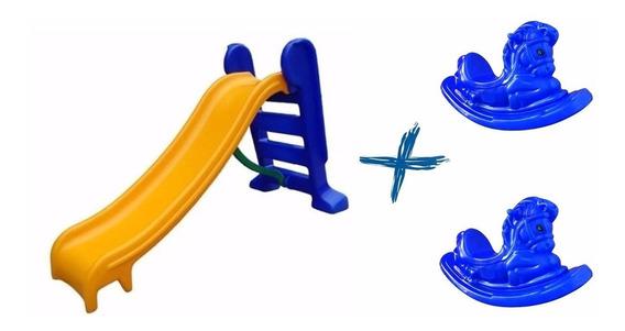 Escorregador Infantil 3 Degraus + 2 Gangorras Cavalinho