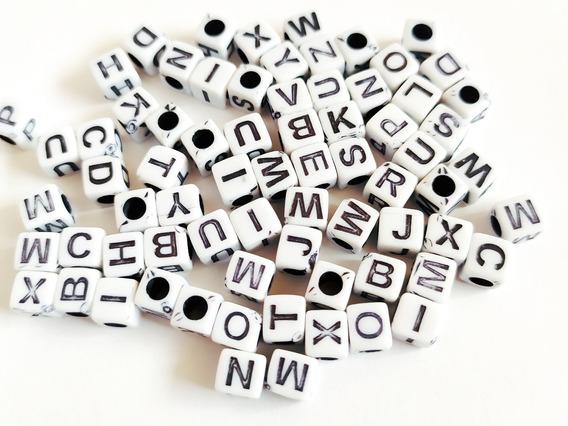 Letras De Cubo Para Pulsera 1000pz Bisutería B/n