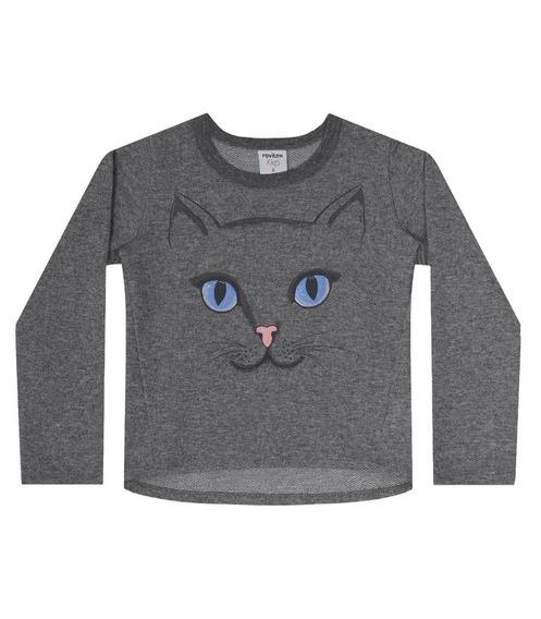Blusa Feminina Infantil Gato Moletinho Nº 1 Ao 3