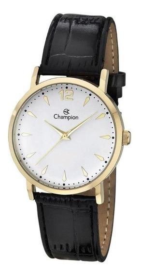 Relógio Feminino Dourado Pulseira De Couro Champion + Nf