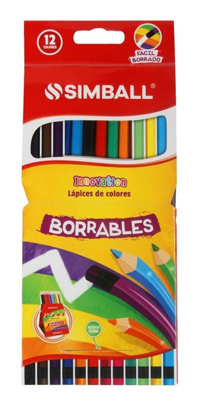 Lapiz De Color Simball Innovation X12 Largo Borrable C/goma