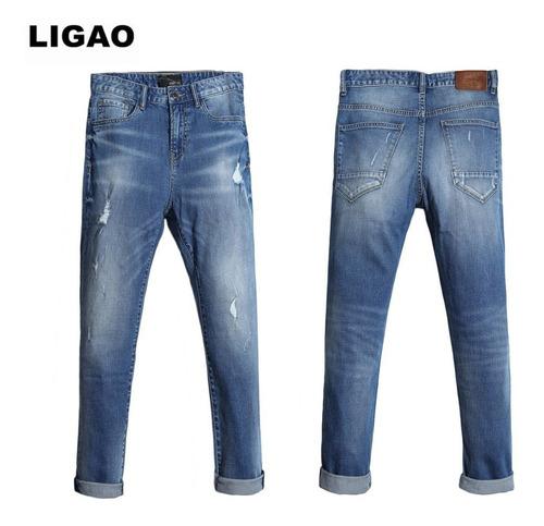 Ligao Moda Hombres Vaqueros Rectos Adelgazar Pantalones Ripp Mercado Libre