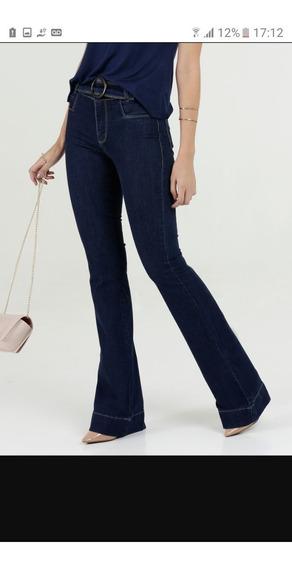 Calça Jeans Flare Sawary Com Cinto Feminina - Azul