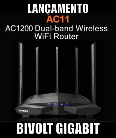 Roteador Wireless Gigabit Tenda Wifi Dual Band Ac11 Original Caixa Cabo Gigabit Brinde Gamer Fonte Bivolt Promoção Frete