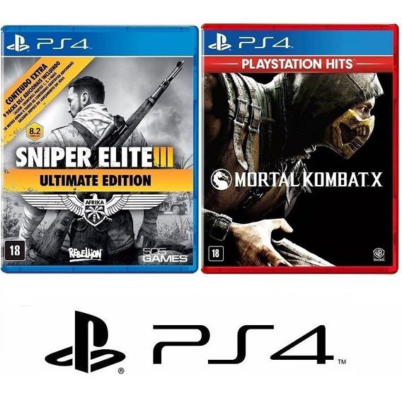 Sniper Elite Iii 3 + Mortal Kombat X - Midia Fisica - Ps4