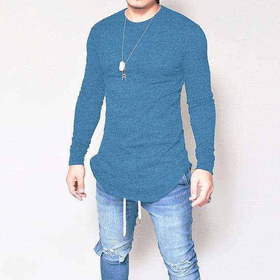 Camiseta Oversized Swag Longline Camisa Manga Longa Turquesa