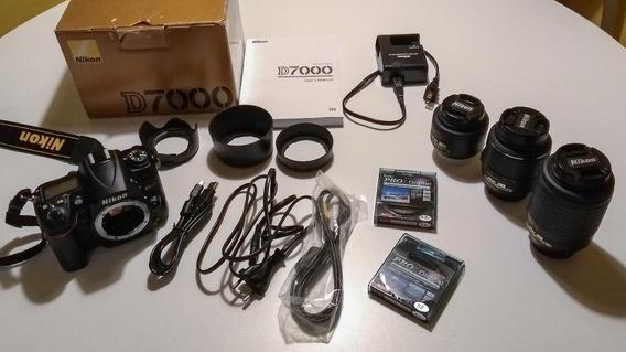 Nikon D7000 8k Cliques + Lente 35mm 1.8 + 18-55mm + 55-200mm