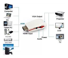 Adaptador Conversor Hdmi P/ Vga Ps4,xbox,pc P/ Monitor Vga