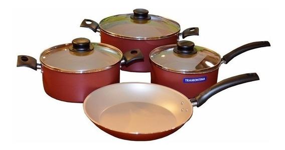 Bateria De Cocina Tramontina 7 Piezas Turim Roja