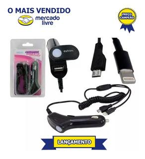 Carregador De Celular Veicular 3/1 Usb V8/iPhone 5-6 Kit 6pç