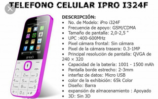 Telefono Cel Ipro I324f Dual Chip Econo Bara Senci 3era Edad
