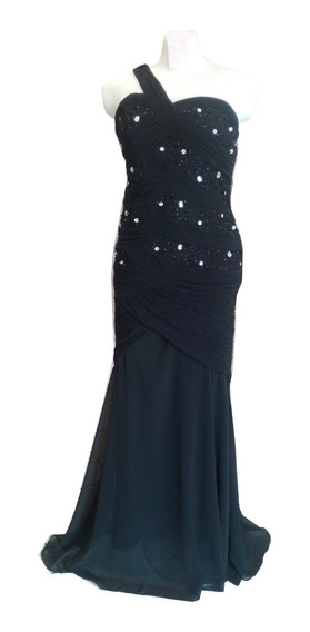 Vestido Lina Lee Talla 34 Negro Con Pedrería Sirena