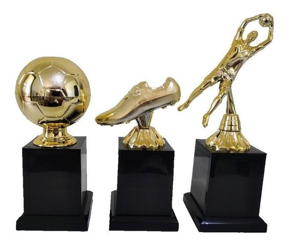 Trofeu Futebol - 3 Melhores Goleiro Artilheiro Bola De Ouro