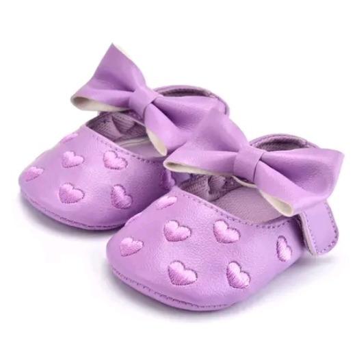 Zapatos Bebe Moño Corazones Menta Lila Moda Asiatica