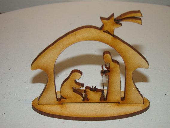 Pesebre Fibrofacil Souvenir Navidad Figura Mdf X 10 Un