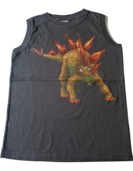 Remera Musculosa Niño Nene Grisino Talle 6 Dinosaurio Nueva