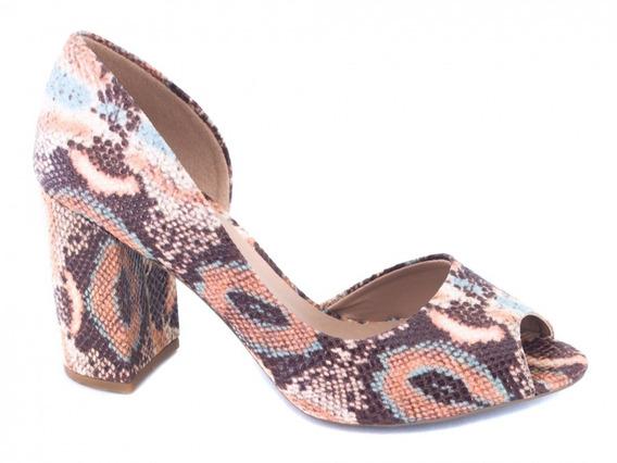 Sapato Peep Toe Feminino, Material Sintético Estampa Animal