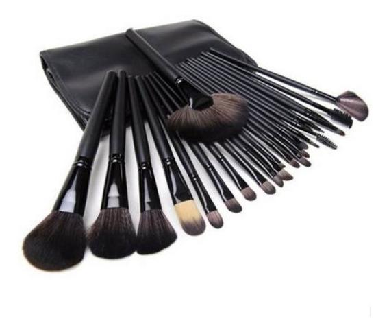 Kit De Pincel Maquiagem 24 Pcs De 19 Cm Grande + Brinde
