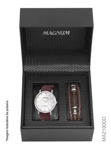 Kit Relógio Social Masculino Magnum Slim Ma21900d Prata