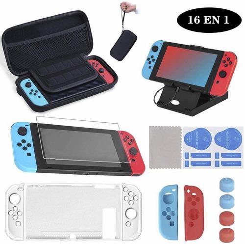 Imagen 1 de 9 de Kit De Accesorios Con Estuche Para Nintendo Switch 16 En 1