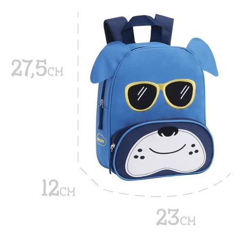 Mochila Pimpolho Infantil Menino Cachorrinho Azul