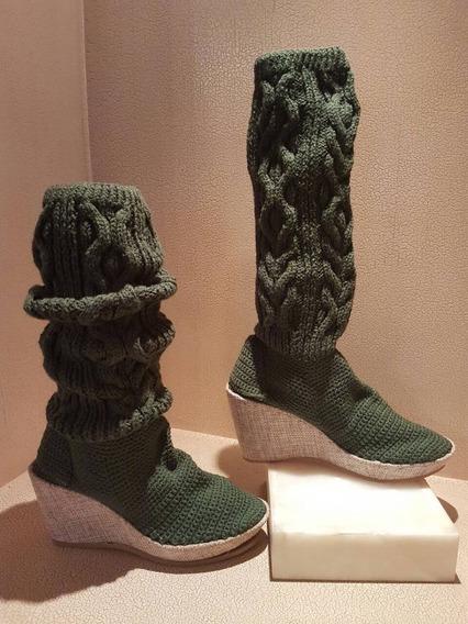 Zapatos Botas Tejidas A Mano Para Mujer Talla 4 Verde