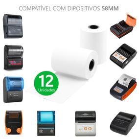 Bobina Branca Impressora Térmica 57x30mm Pacote 12 Unidades