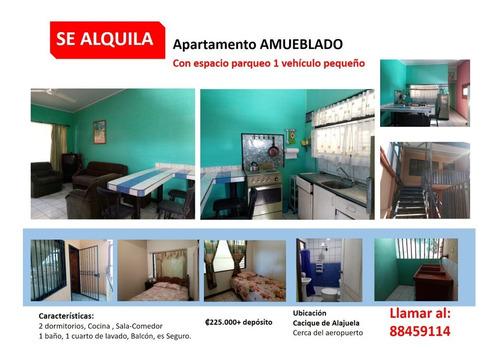 Imagen 1 de 11 de Apartamento Amueblado Con Parqueo En Cacique Alajuela