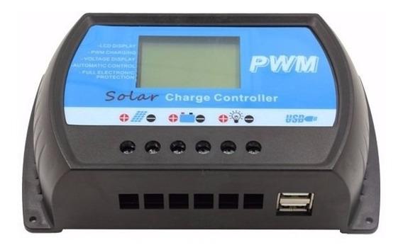 Controlador De Carga Pwm 40a 12/24v Automático C/ Usb
