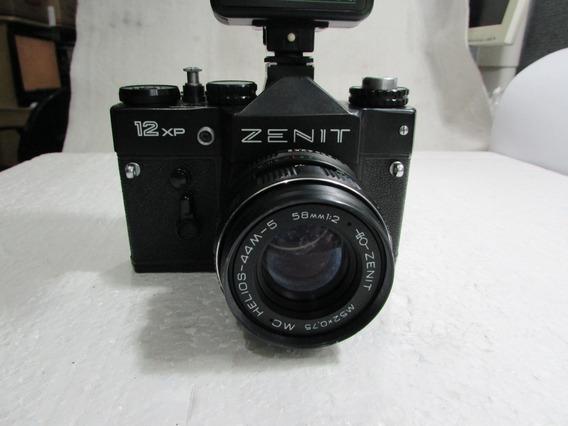 Maquina Fotografica Antiga Zenit 12xp+flash Tron S400