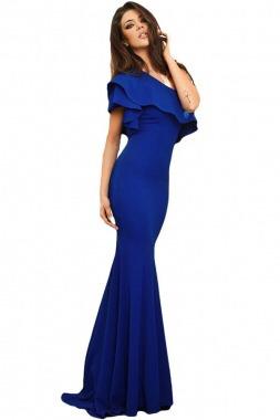 57f782625 Vestido Fiesta Largo Azul Rey Corte Sirena Elegante Sexy -   749.00 en Mercado  Libre
