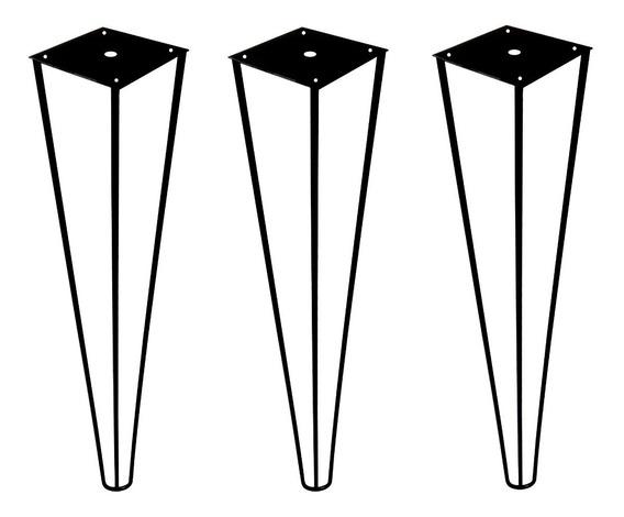 3 Pé Hairpin Leg 50cm Triplo Industrial Mesa Aparador 1/4