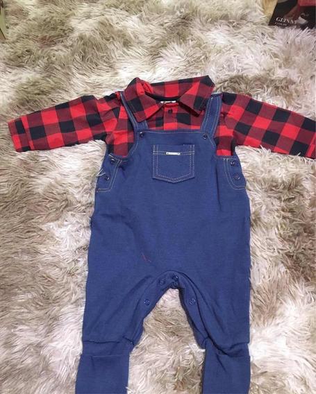 Macacão Bebê Com Camisa Xadrez Aconchego Do Bebê