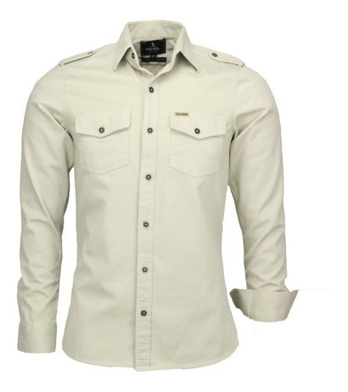 Camisa Social Masculina Paris Longa Militar Otimo Presente