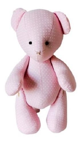 Urso Ursinho De Pelúcia Veludo Poa Rosa 30 Cm