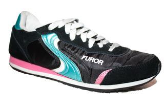 Tenis Furor Negro Con Azul Y Rosa 25 Cm
