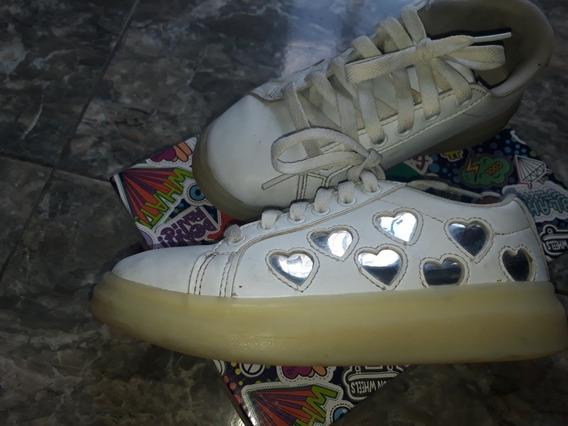 Zapatillas Footy Blancas Con Luz Talle 32