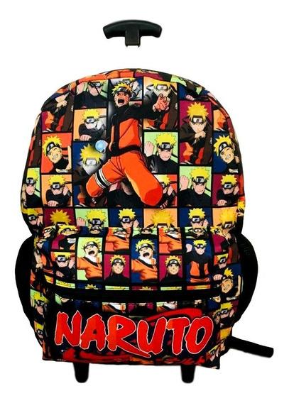 Mochila Escolar Infantil Naruto De Rodinhas