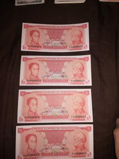 Billetes Antiguos Venezolanos De 5 Año 89