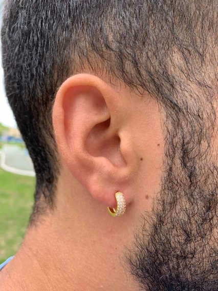 Brinco Masculino Argola 13mm Com Zircônia Modelo Neymar